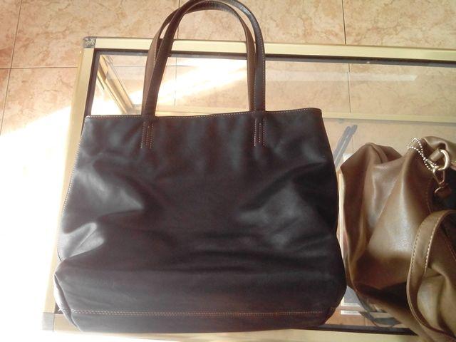 Bolso grande shopper negro reversible