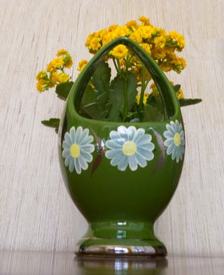 Jarron cesta de porcelana fina, Bolufer, vintage