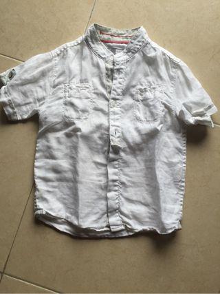 Camisa blanca de Hilo para niño