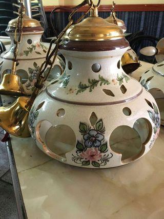 5 lamparas vintage de ceramica