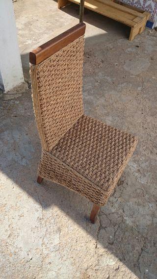 Conjunto de 6 sillas en rattan natural