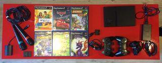 PlayStation 2. PS2 + 6 Juegos PS2 + Micrófonos