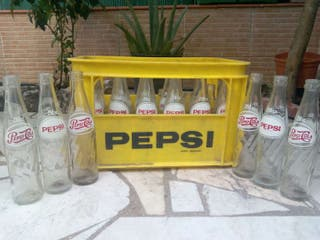 Botellas de pepsi-cola antiguas con caja original