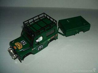 Carrocería Land Rover sts de exin color verde con remolque scalextric, slot