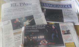 U2 lote artículos de periódicos sobre los conciertos de Barcelona y San Sebastián 2005.
