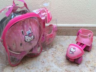 Patines, casco y mochila de Hello kitty