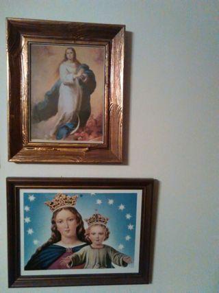Dos cuadros con imágenes virgen
