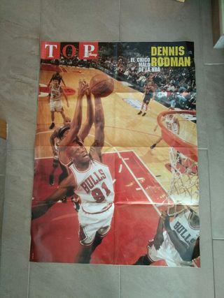 Poster dennis rodman,bulls años 90