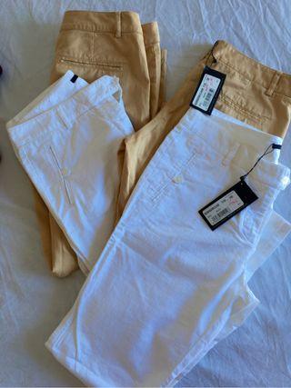 Pantalones Nuevos! Estrechos blancos y beige