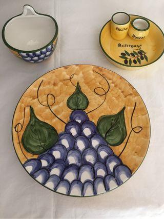 Frutero, cuenco y plato aperitivo