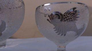 2 copas y jarra con peces art deco