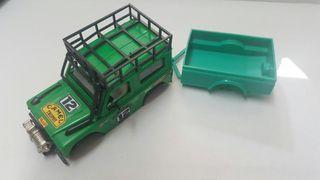 Carrocería Land Rover sts de exin color verde militar con remolque verde claro. Gastos de envío no incluidos. Scalextric, slot