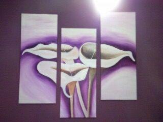 Composición Flores 3 lienzos