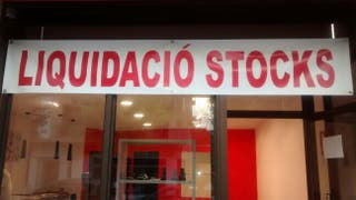 Letrero lona: LIQUIDACIÓ STOCKS