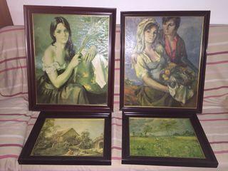 Conjunto de cuadros antiguos.