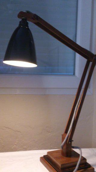 Flexo antiguo lámpara de mesa de madera