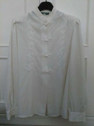 Blusa seda vintage blanca estilo japonés