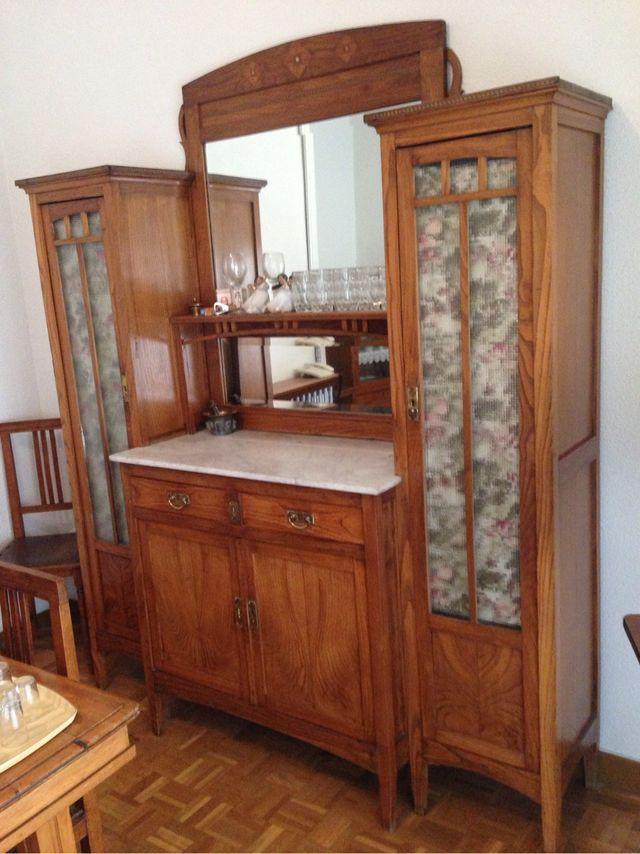 Tocador mueble modernista antiguo art deco madera vintage - Muebles antiguos madrid ...