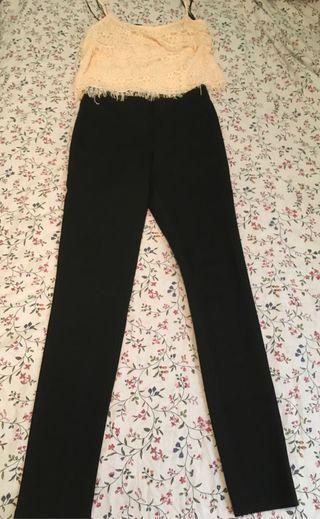Conjunto precioso y elegante crop top y pantalón