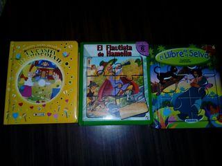 Lote libros con puzzle y uno con cd para escuchar.