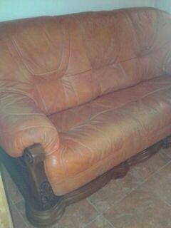 Sofas de madera rustica en piel