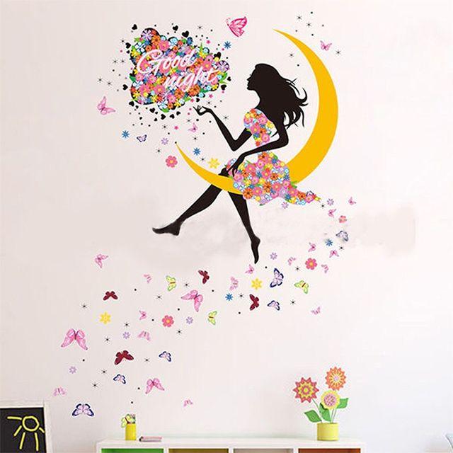 Vinilo Adhesivo Decorativo Pared. Nuevo. Chica Sentada En Luna Con Vestido Flores Y Mariposas.