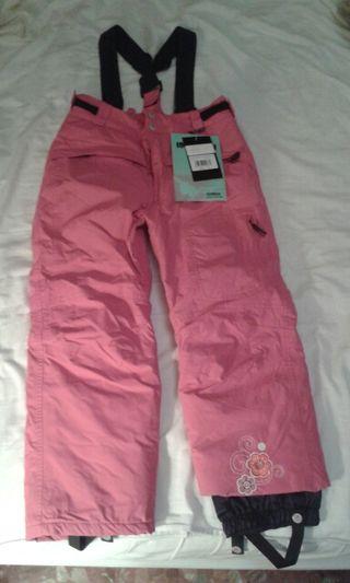 Pantalon de nieve con tirantes fuxia