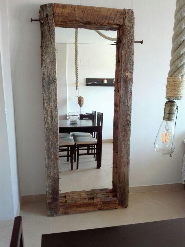 Espejo Grande Con Marco R Stico De Madera De Segunda Mano