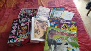 Lote puzzles varios y cuadernillos de pintar y actividades varias