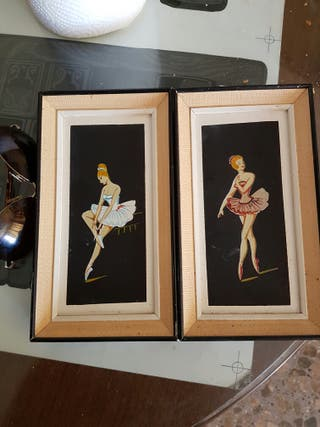 Pareja de cuadros antiguos bailarina
