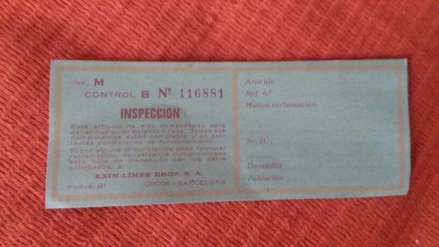 Tarjeta de inspección del STS 4x4