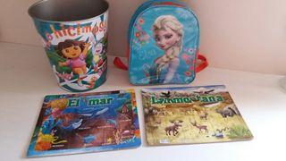 Mochila, papelera y 2 puzzles NUEVO