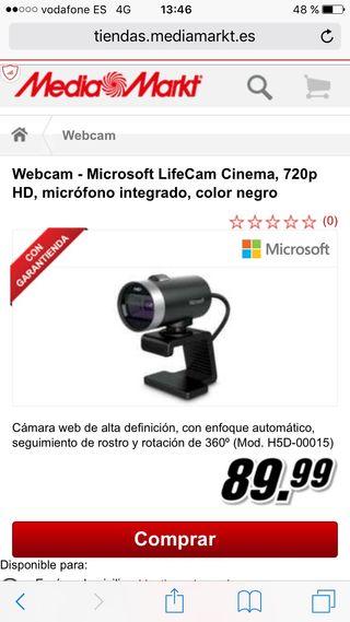 Vendo webcam Microsoft hd