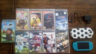 PSP 3000 + 9 videojuegos + funda + cargador