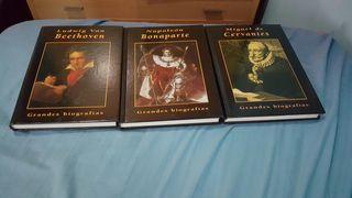 Libros biograficos de Napoelon,Cervantes y Beethoven.