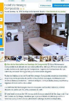 Reserva hotel Montenegro Santiago de Compostela