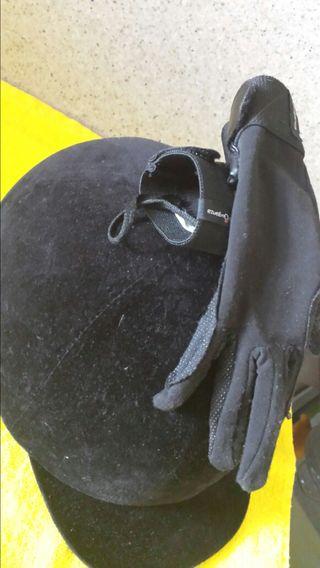 Casco y guantes de montar niño