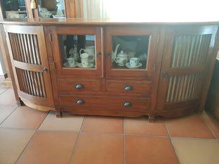 MUEBLE Bufete colonial de madera maciza