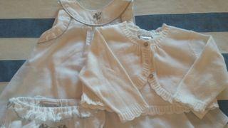 Precioso Vestido blanco con plata.T/3 meses.
