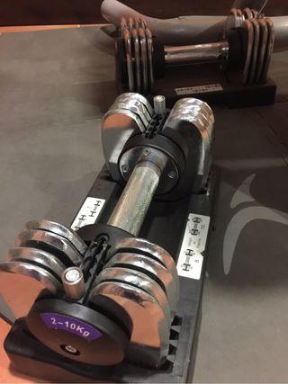 Mancuernas y banco de pesas