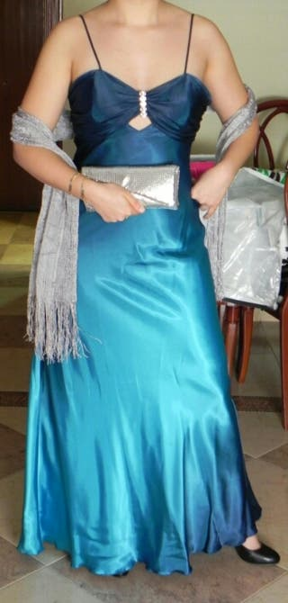 Vestido fiesta en azul turquesa