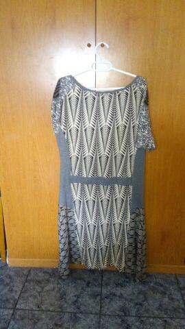 Vestido gris con detalles xl