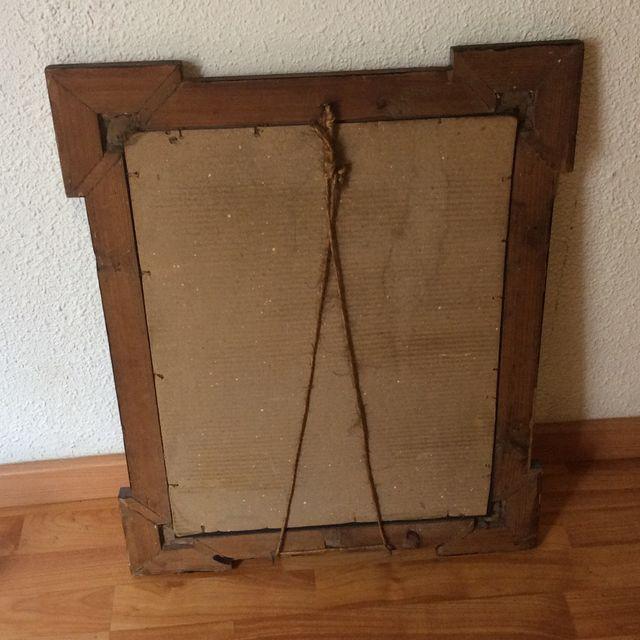 Espejo antiguo - marco de madera con detalle- 53x65cm de segunda ...