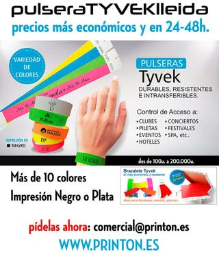 Pulseras TYVEK - vip eventos intransferibles