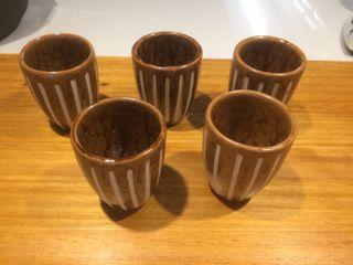 5 gotets ceràmics esmaltats - 5 vasitos cerámicos