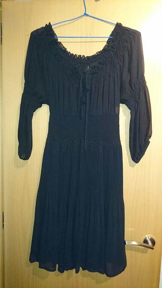 Vestido de fiesta negro de gasa,de zara