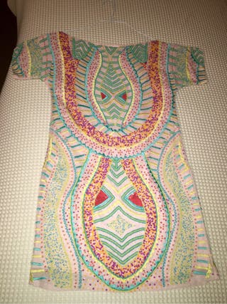 Colourful short dress used only 1 time