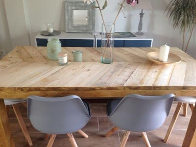 Mesa de comedor rústica de madera maciza. de segunda mano por 800 ...