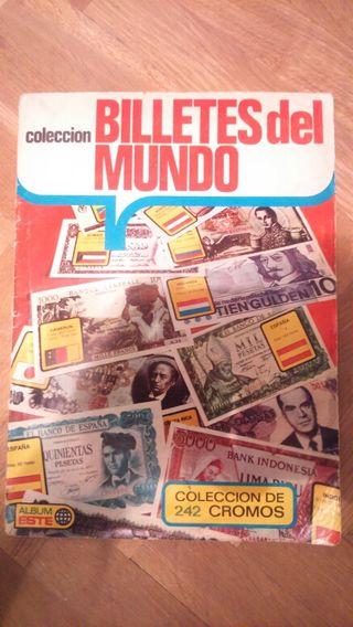 Álbum de cromos de billetes del mundo año 1974 completo
