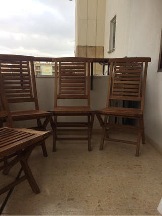 4 sillas de madera de teak perfecta para jardín